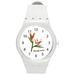 Bird Of Paradise Round Plastic Sport Watch (m) by Valentinaart