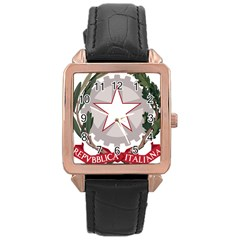 Emblem Of Italy Rose Gold Leather Watch  by abbeyz71