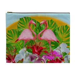 Flamingo Cosmetic Bag (xl) by Valentinaart