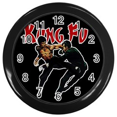 Kung Fu  Wall Clocks (black) by Valentinaart