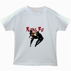 Kung Fu  Kids White T Shirts by Valentinaart