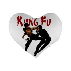 Kung Fu  Standard 16  Premium Flano Heart Shape Cushions by Valentinaart