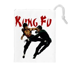 Kung Fu  Drawstring Pouches (extra Large) by Valentinaart