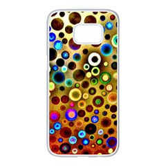 Colorful Circle Pattern Samsung Galaxy S7 Edge White Seamless Case by Costasonlineshop