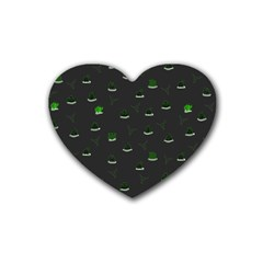 Cactus Pattern Rubber Coaster (heart)  by ValentinaDesign