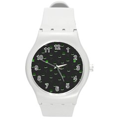Cactus Pattern Round Plastic Sport Watch (m) by ValentinaDesign