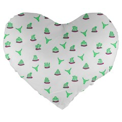 Cactus Pattern Large 19  Premium Flano Heart Shape Cushions by ValentinaDesign