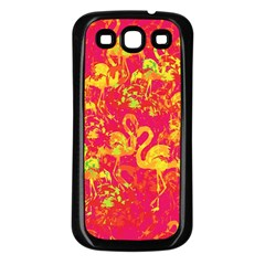 Flamingo Pattern Samsung Galaxy S3 Back Case (black) by ValentinaDesign
