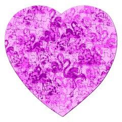 Flamingo Pattern Jigsaw Puzzle (heart) by ValentinaDesign