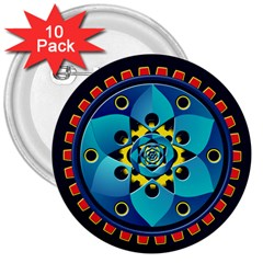 Abstract Mechanical Object 3  Buttons (10 Pack)