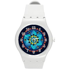 Abstract Mechanical Object Round Plastic Sport Watch (m) by linceazul