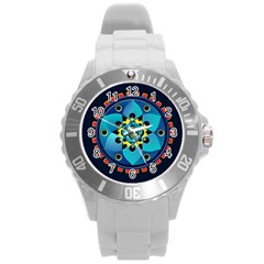 Abstract Mechanical Object Round Plastic Sport Watch (l) by linceazul