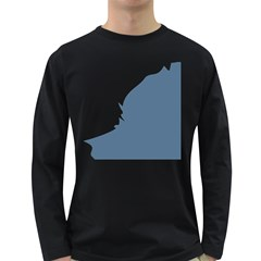 Blue White Hill Long Sleeve Dark T-shirts by Mariart