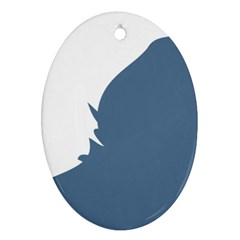 Blue White Hill Oval Ornament (two Sides) by Mariart