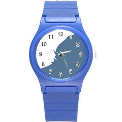 Blue White Hill Round Plastic Sport Watch (s) by Mariart