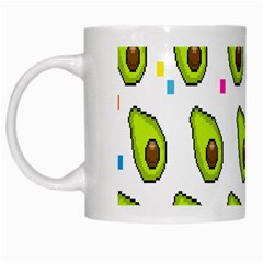 Avocado Seeds Green Fruit Plaid White Mugs by Mariart