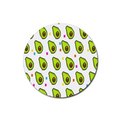 Avocado Seeds Green Fruit Plaid Rubber Round Coaster (4 Pack)  by Mariart