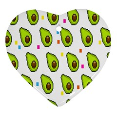 Avocado Seeds Green Fruit Plaid Heart Ornament (two Sides) by Mariart
