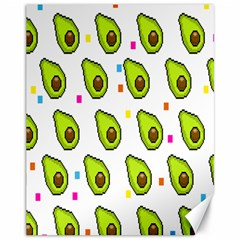 Avocado Seeds Green Fruit Plaid Canvas 11  X 14