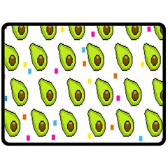 Avocado Seeds Green Fruit Plaid Fleece Blanket (large)  by Mariart
