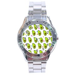 Avocado Seeds Green Fruit Plaid Stainless Steel Analogue Watch