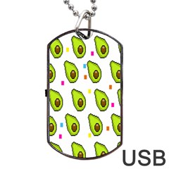 Avocado Seeds Green Fruit Plaid Dog Tag Usb Flash (two Sides) by Mariart
