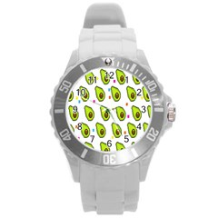 Avocado Seeds Green Fruit Plaid Round Plastic Sport Watch (l) by Mariart