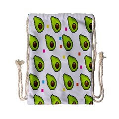 Avocado Seeds Green Fruit Plaid Drawstring Bag (small) by Mariart