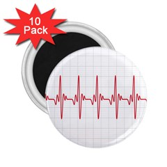 Cardiogram Vary Heart Rate Perform Line Red Plaid Wave Waves Chevron 2 25  Magnets (10 Pack)  by Mariart