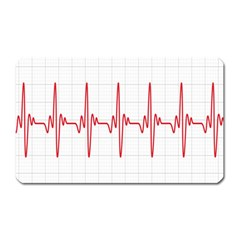 Cardiogram Vary Heart Rate Perform Line Red Plaid Wave Waves Chevron Magnet (rectangular) by Mariart