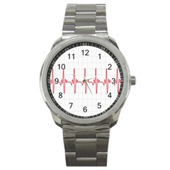 Cardiogram Vary Heart Rate Perform Line Red Plaid Wave Waves Chevron Sport Metal Watch by Mariart