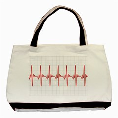 Cardiogram Vary Heart Rate Perform Line Red Plaid Wave Waves Chevron Basic Tote Bag by Mariart
