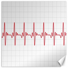 Cardiogram Vary Heart Rate Perform Line Red Plaid Wave Waves Chevron Canvas 16  X 16   by Mariart