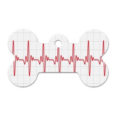 Cardiogram Vary Heart Rate Perform Line Red Plaid Wave Waves Chevron Dog Tag Bone (one Side) by Mariart