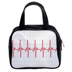 Cardiogram Vary Heart Rate Perform Line Red Plaid Wave Waves Chevron Classic Handbags (2 Sides) by Mariart