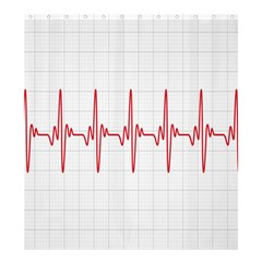 Cardiogram Vary Heart Rate Perform Line Red Plaid Wave Waves Chevron Shower Curtain 66  X 72  (large)  by Mariart