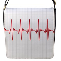 Cardiogram Vary Heart Rate Perform Line Red Plaid Wave Waves Chevron Flap Messenger Bag (s) by Mariart