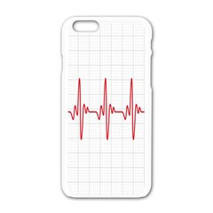 Cardiogram Vary Heart Rate Perform Line Red Plaid Wave Waves Chevron Apple Iphone 6/6s White Enamel Case by Mariart