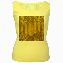 Wall Paper Old Line Vertical Women s Yellow Tank Top by Mariart