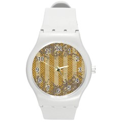 Wall Paper Old Line Vertical Round Plastic Sport Watch (m)