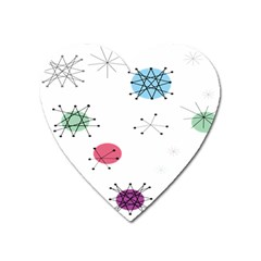Atomic Starbursts Circle Line Polka Heart Magnet by Mariart