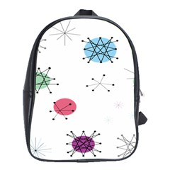 Atomic Starbursts Circle Line Polka School Bags(large)  by Mariart