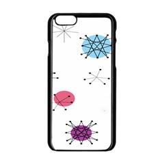 Atomic Starbursts Circle Line Polka Apple Iphone 6/6s Black Enamel Case
