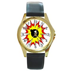 Book Explosion Boom Dinamite Round Gold Metal Watch by Mariart
