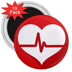 Cardiologist Hypertension Rheumatology Specialists Heart Rate Red Love 3  Magnets (10 Pack)  by Mariart