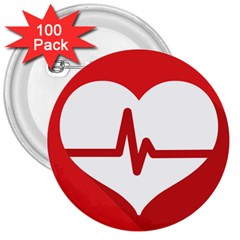 Cardiologist Hypertension Rheumatology Specialists Heart Rate Red Love 3  Buttons (100 Pack)  by Mariart