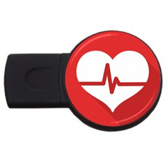 Cardiologist Hypertension Rheumatology Specialists Heart Rate Red Love Usb Flash Drive Round (2 Gb) by Mariart