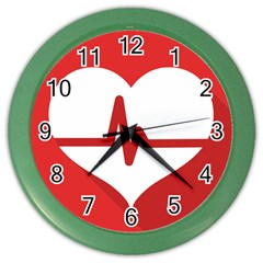 Cardiologist Hypertension Rheumatology Specialists Heart Rate Red Love Color Wall Clocks by Mariart