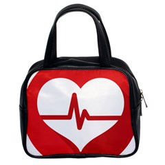 Cardiologist Hypertension Rheumatology Specialists Heart Rate Red Love Classic Handbags (2 Sides) by Mariart