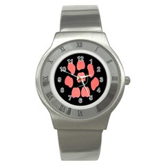 Craft Pink Black Polka Spot Stainless Steel Watch by Mariart
